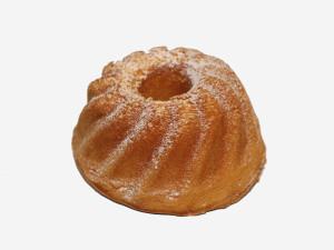 Puszyste ciasto biszkoptowo – tłuszczowe o wilgotnym miękiszu i maślanym aromacie, obsypane cukrem pudrem.