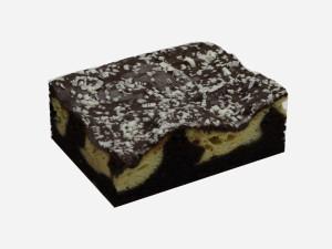 Ciasto o czekoladowym smaku z kulkami serowymi oblane polewą czekoladową.