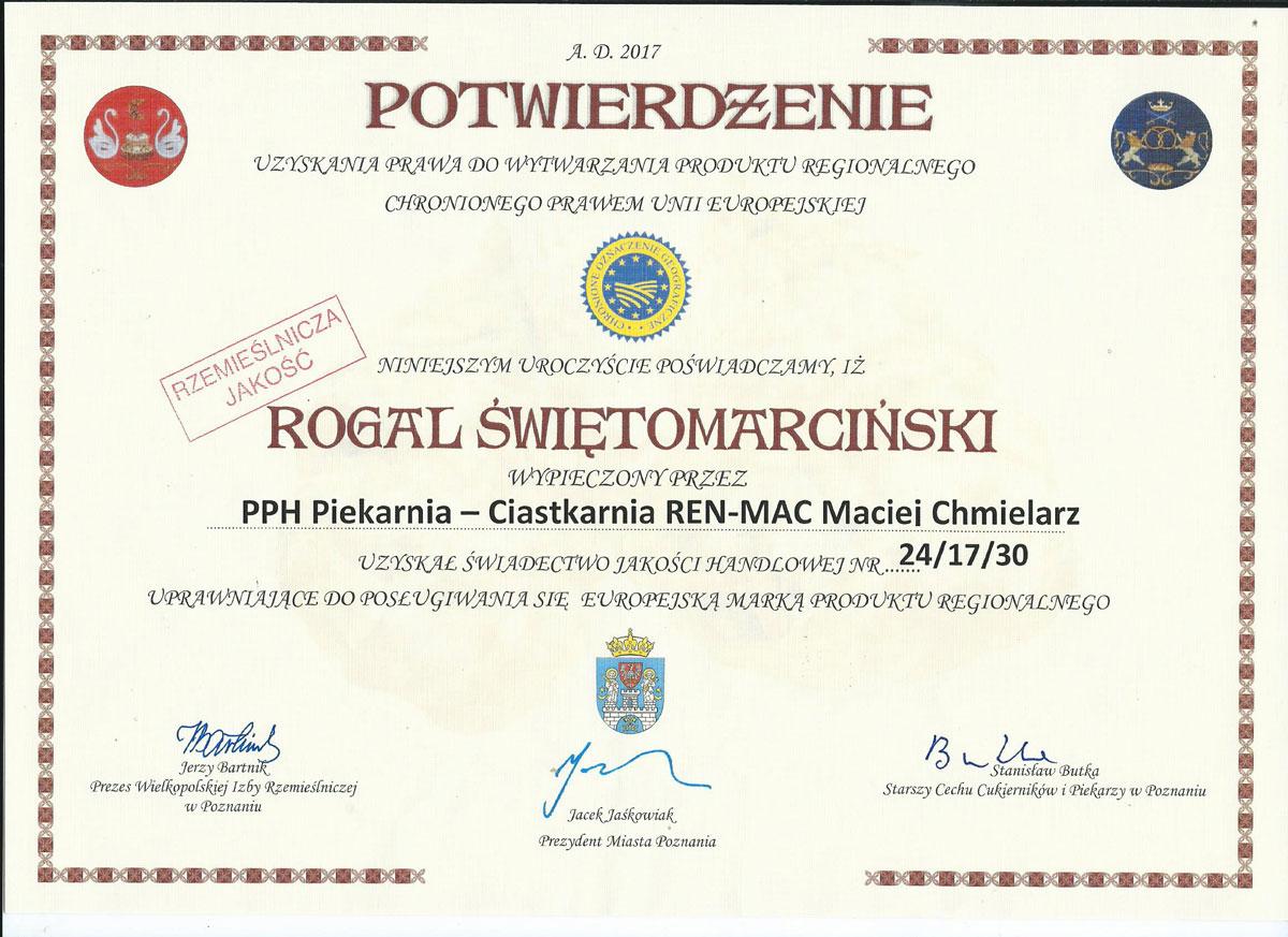 Certyfikat Rogale Marcińskie
