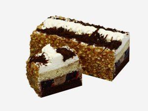 Połączenie ciemnego i jasnego biszkoptu z kremem kakaowym i śmietaną oraz wiśniami. Całość udekorowana orzechami arachidowymi i wiórkami czekoladowymi.