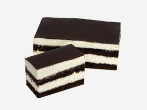 Połączenie ciemnego biszkoptu z puszystą bitą śmietaną. Całość oblana polewą czekoladową.