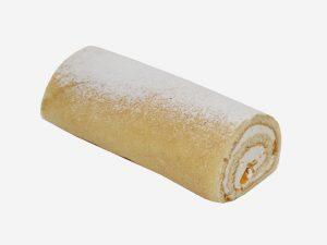 Połączenie delikatnego biszkoptu ze śmietaną oraz kawałkami brzoskwiń. Całość dekorowana cukrem pudrem.