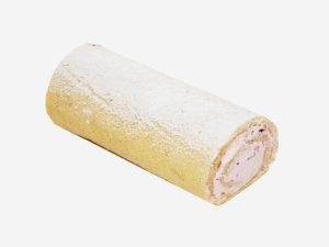 Połączenie delikatnego biszkoptu ze śmietaną o smaku truskawkowym z kawałkami truskawek. Całość dekorowana cukrem pudrem.
